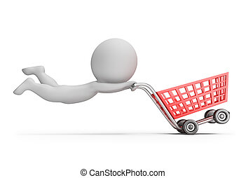 3d, pequeño, gente, -, rápido, carro de compras