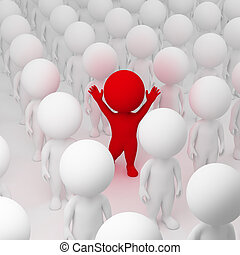 3d, pequeño, gente, -, segregar