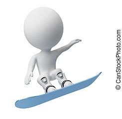 3d, pequeño, gente, -, snowboard