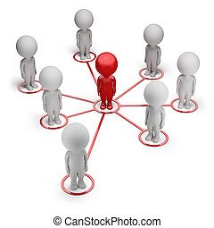 3d, pequeño, gente, -, socio, red