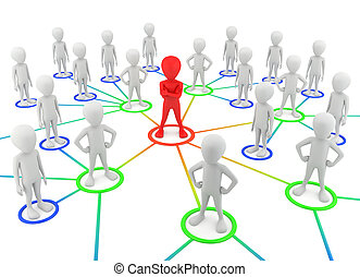 3d, pequeño, gente, -, socios, el, network.