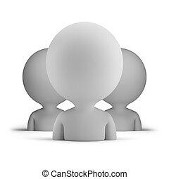 3d, pequeño, gente, -, usuarios