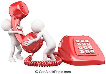 3d, pequeño, las personas hablar, por teléfono