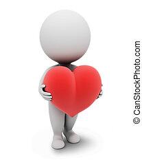 3d, pequeño, people-heart