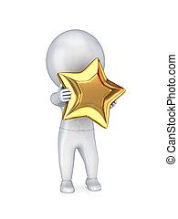3d, pequeño, persona, con, un, dorado, estrella, en, un, hands.