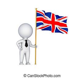 3d, pequeño, persona, con, un, tejer, bandera inglesa, .