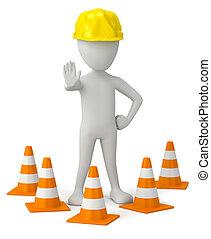 3d, pequeño, persona, en, un, helmet-traffic, cone.