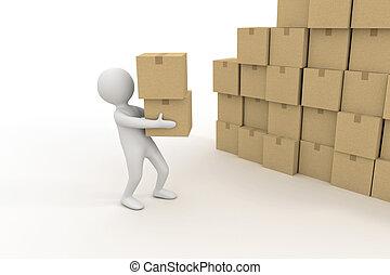 3d, pequeño, persona, y, pila, de, cajas de cartón