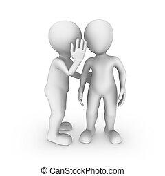 3d, pequeño, personas., escuchar, cuidadosamente, él, es, un, secret...