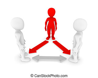 3d, pequeño, personas., liderazgo, concept.