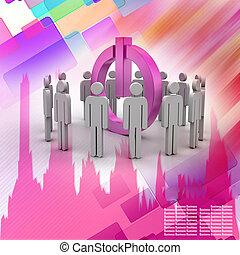 3d, pequeño, personas., social, red, concepto