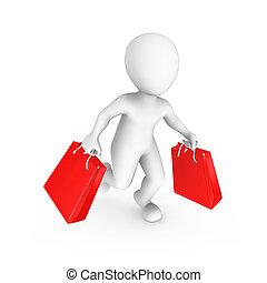 3d, pequeño, personas., venta, y, compras, concept.