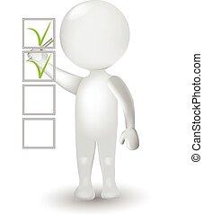 3d, pequeno, branca, homem, e, levantamento, lista de verificação