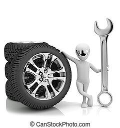 3d, pequeno, human-, car, mechanic., 3d, image., ligado, um,...