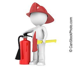 3d, pequeno, human, personagem, a, bombeiro
