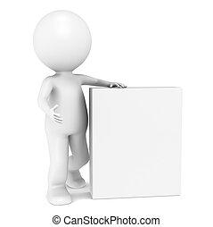 3d, pequeno, human, personagem, com, em branco, produto, caixa