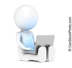 3d, pequeno, human, personagem, com, laptop., luz azul