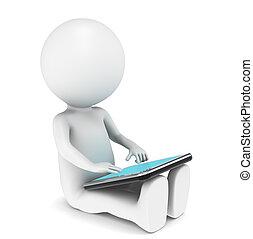 3d, pequeno, human, personagem, com, tabuleta, computador