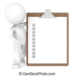 3d, pequeno, human, personagem, e, um, área de transferência, com, cheque, marcas