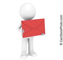 3d, pequeno, human, personagem, segurando, um, vermelho, envelope