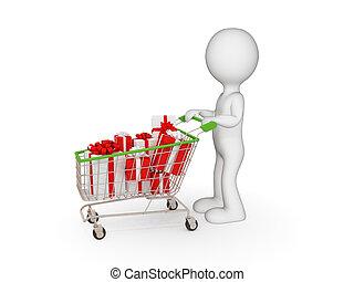 3d, pequeno, pessoa, com, shopping, trolley.
