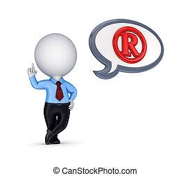 3d, pequeno, pessoa, com, um, direitos autorais, símbolo.