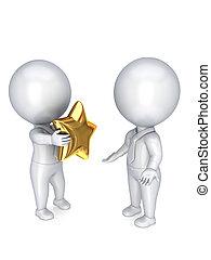 3d, pequeno, pessoa, com, um, dourado, estrela, em, um, hands.