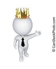 3d, pequeno, pessoa, em, um, dourado, crown.