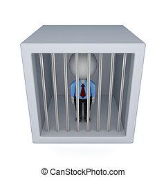 3d, pequeno, pessoa, em, um, jail.