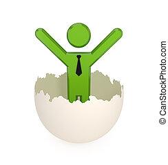 3d, pequeno, pessoa, em, um, rachado, eggshell.
