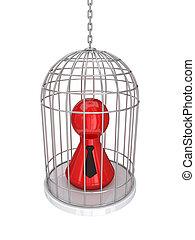 3d, pequeno, pessoa, em, um, vindima, cage.