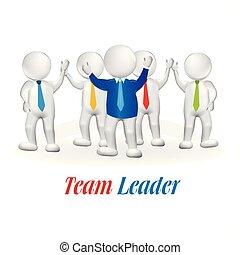 3d, pequeno, pessoa, líder equipe, trabalho equipe
