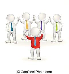 3d, pequeno, pessoa, líder, trabalho equipe