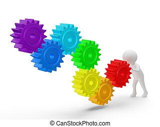 3d, pequeno, pessoa, rolos, um, grande, cores arco-íris, engrenagens, ., 3d, image., isolado, branca, experiência.