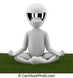 3d, pequeno, pessoa sentando, em, um, posição lotus, ligado,...