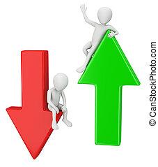 3d, pequeno, pessoas, -, a, sucesso, e, fall.