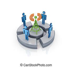 3d, pequeno, pessoas, ao redor, célula, tower.