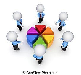 3d, pequeno, pessoas, ao redor, coloridos, graph.