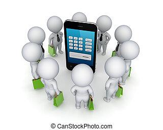 3d, pequeno, pessoas, ao redor, móvel, telefone.