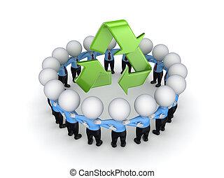 3d, pequeno, pessoas, ao redor, recicle, símbolo.