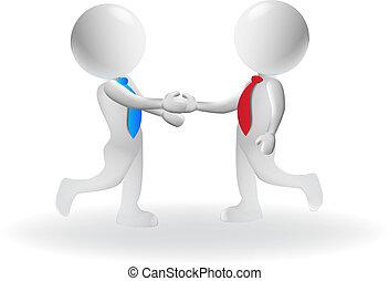 3d, pequeno, pessoas, aperto mão, negócio, logotipo, vetorial, desenho