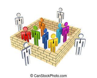 3d, pequeno, pessoas, atrás de, e, exterior, a, wall.