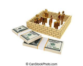 3d, pequeno, pessoas, atrás de, parede, e, dólar, packs.