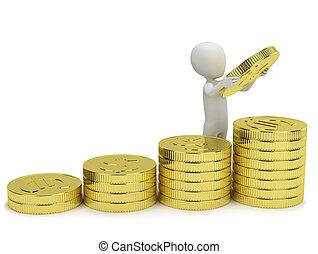 3d, pequeno, pessoas, -, aumentos, profits.