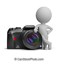 3d, pequeno, pessoas, -, câmera digital