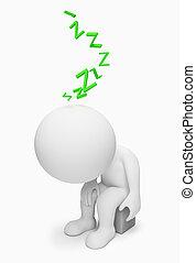 3d, pequeno, pessoas, -, cansadas