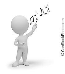 3d, pequeno, pessoas, -, cantor