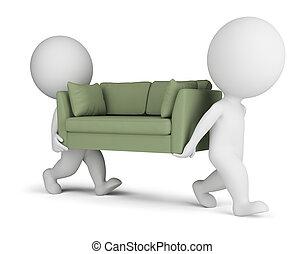 3d, pequeno, pessoas, carregar, um, sofá