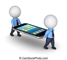 3d, pequeno, pessoas, com, modernos, móvel, telefone.