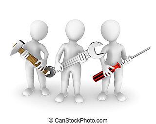 3d, pequeno, pessoas, com, tools.